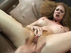 Horny milf with big hooters gets her hairy beaver fingered and fucked