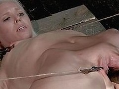 Sarah Jane Ceylon is a sexy blonde milf who is in a lot of pain. She`s tied up in the dungeon with regard to rope and has her pussy prodded. Her vagina lips are largeness apart with regard to clamps so her master can get a good look inside and her fucks h