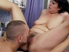Shove around granny gets fucked in the kitchen