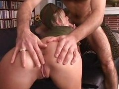 Hot blonde hooker in a military uniform gets it in the ass