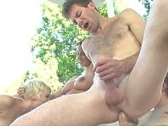 Bisexual Group Sex! Watch two Couples Fucking In The Backyard!