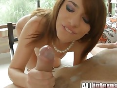 Lovely model is spreading her legs. She is getting cumshot in the video. Her firm boobs are jumping up and down as her lover takes her pussy doggy style.