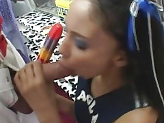 Cheeleader Alexis Sucking On Popsicle And Cock
