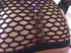 Marta La Croft has a luscious bosom of tits that are constrained beneath a bikini top and a fishnet dress. She gets nude to expose her error-free boobs and glorious ass. She bends over and her man stick his face in her butt.