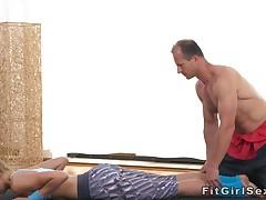 Flexible fit blonde bangs her yoga teacher