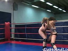 Lesbian orally pleasured after wrestling