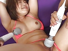 Tied up and sex toy fondled