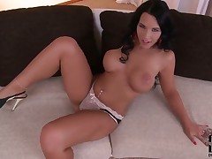 Kyra Hot with big tits and trimmed bawdy cleft fucking herself with sex toy on cam for your viewing entertainment