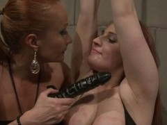 Katy Borman sucking a dildo during the time that her hooves bound up