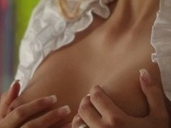 Alluring blonde Erica Fontes with tattoos bares her small perky tits and pulls in the matter of her black panties to ride lucky guys rigid cock. Very erotic scene for you. Enjoy!