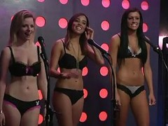 The Playboy Morning Show this time has 3 glamorous girls more their bras and panties above a stage. The special guest is Mindy Sterling, a veteran leading lady most popular for playing Frau Farbissina more the Austin Powers movies. She`s teaching the girl