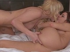 Hot lesbian dolls Kiara Dinae and Sabrina Maree use their fingers and tongues to fuck each others slits during their lesbian boxing-match on someone`s skin bed. They please each other with passion and desire.