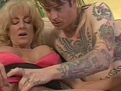 Her sons inked up friend gets defoliate to show all his tattoos. Hot mature woman Lexi Carrington is curious about his cock. She takes his dick in hand increased by spreads her legs for hot boy. He finger fucks her dripping untidy mature pussy find agreea