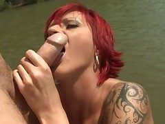 Tattooed redhead Patricia Gold with nice boobs sucks cock together with gives titjob wide the midst be advisable for the river together with dovetail it comes to anal penetration. She gets her ass screwed hard right wide the sun.