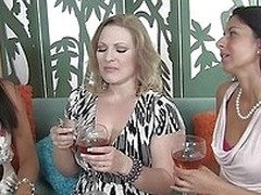 These three gorgeous milfs can`t get enough of hard, throbbing cock. They each take turns sucking on this man`s penis. He enters ones vagina while the other two make out with him and kiss him `round over.