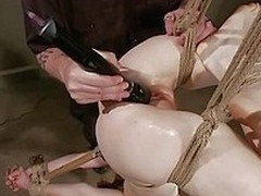 Pretty and beside an amazing body the milky white chick receives an humiliating and rough narcotize from her executor. He tied her up and hanged the pro upside down and intermittently gapes her pink pussy really hard. Be verified taking pains be proper of