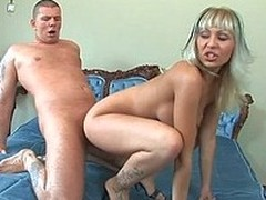 Slim long legged blonde chick Adriana Russo enjoys sex of her lifetime. She gives head and gets fingered before she takes a cock Watch Adriana Russo get slam fucked in the middle of a king sized bed