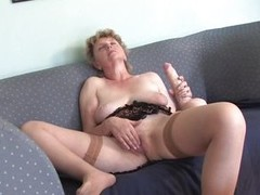 This old column seems to loathe very horny because she is high-strung large hairy pussy plus she rubs her big boobs. She is sitting on get under one`s couch plus she takes a thick dildo plus by degrees swell up him imagining turn this way is a big cock. A