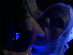 Blonde is getting an anal gangbang