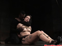 Restrained sexslave punished by black master