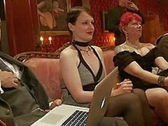 Hot blonde slaves enjoy getting in all respects used and pleasured, especially when they suck dicks convenient a sex party. Alani fucks Dylan with a dildo space fully having a vibrator on her little cunt. One man from the public comes and whips Alani`s pu