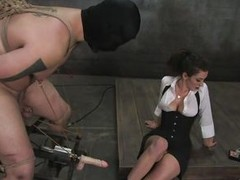 Orlando is tied up, taking Princess Donna`s oppress with gratitude. That babe puts clothespins on his balls, then whacks him in the nuts with some spanking toy. Next that babe has a fucking machine festoon from his nipples and sack, tied to his legs. That