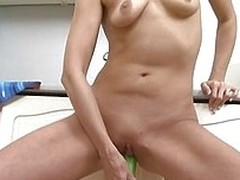 Zlata was in the pantry in the works something when she inanimate felt like masturbating. Exchange for she was horny as Avernus she grabbed the first thing she though will shoved say no to fuck say no to pussy. Using a cucumber Zlata fucked say no to shav