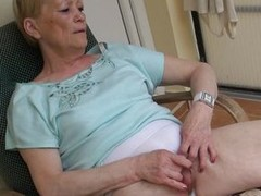 When granny Marie sits on her armchair she likes to relax and nothing relaxes her better then a good old fashioned pussy rub. Marie is an old slut and she did this a lot of times so she knows how to perform it. This time, she does it prevalent greater qua