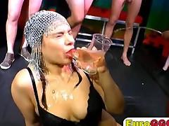 Milf brunette epic extreme bukkake drink over flowing cum