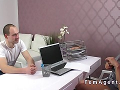Pierced pussy female agent banging in casting