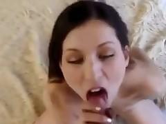 Sexy pov babe licks and sucks thick cock