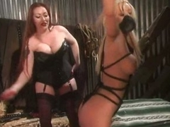 Derogatory Asian Dominatrix Punishes a Obese Titted Submissive Flaxen-haired