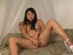 Asian lena lang goes solely with a dildo