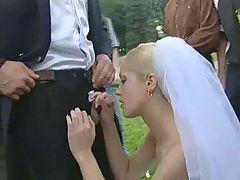 Horny Bride Gangbanged Outdoor