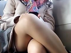 Upskirt on train hidden cam voyeur 5