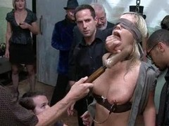 trussed and unseeable Tara Lynn gets her cunt vibed and titties squeezed.