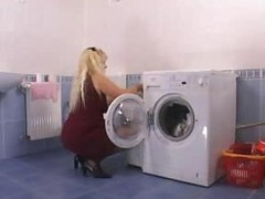 Mother Driving Wildly In The Laundryroom
