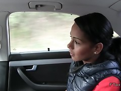 Tanned Euro beauty flashing in fake taxi