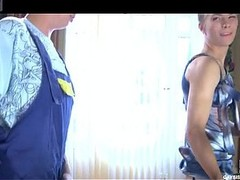 Smartened up crossdresser tempts a hung handyman into having freaky homo sex