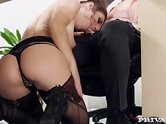 Julia Roca Has Her Hirsute Slit Pounded in the Office