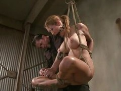 Tied and ball gagged blonde babe Rain is being hanged by her executor. This cunt has a pair of big delicious boobs and a sexy exasperation with two unmitigatedly tight holes. She`s being whipped hard on that ass, spanked on the boobs and gear up stung on