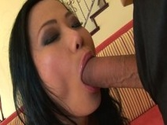 Asian milf snatch nailed relative to a massive cock