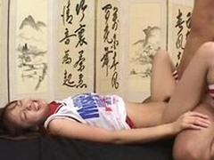 Vicious Japanese Cutie Gets Smothered With Cum