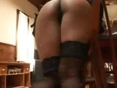 Despondent Asian In Black Stockings