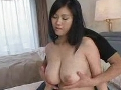 He fondles her really big on the level Japanese tits